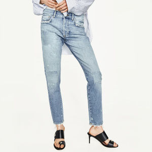 NWT Zara Mid Rise Skinny Distressed Patch Jeans